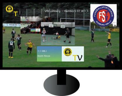 Fernseher mit Collage Amateur-Sport