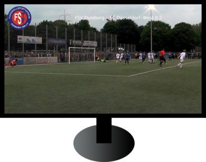 Fernseher mit Fußballspiel vom FSV Duisburg unter Flutlicht