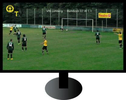 Fernseher mit Tor beim Amateur-Fußball
