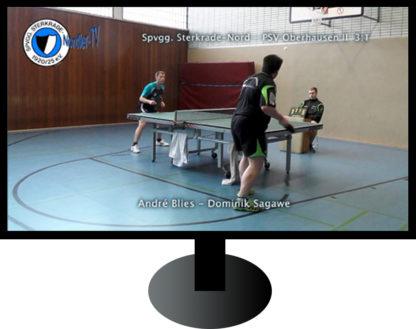 Tischtennis-Spiel in Fernseher