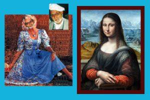 Lustige Bild: Mann sieht aus wie eine Frau im Dirndl und ist schöner als Mona Lisa (rechts im Bild)